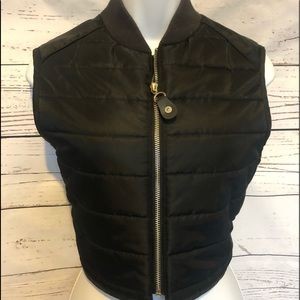 Guess Jeans Black Cropped Puffy Vest Sz M